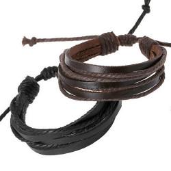 BR0254 BOBIJOO Jewelry 2er set Armbänder mit Leder-Riemen Braun Schwarz