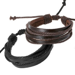 BR0254 BOBIJOO Jewelry Lot of 2 Bracelets Leather Strappy Brown Black