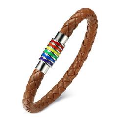 BR0255 BOBIJOO Jewelry Armband Leder Edelstahl Schwul Homo Rainbow Hellbraun