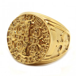 BA0236 BOBIJOO Jewelry Signet Ring Medal Cross, Saint Benedict Pope Steel Gold
