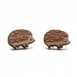 BOF0092 BOBIJOO JEWELRY Earrings Wood Metal Hedgehog Niglo