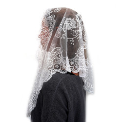 MA0001 ANGELYK corsets habillés Mantilla, Stole A Triangle Of White Lace
