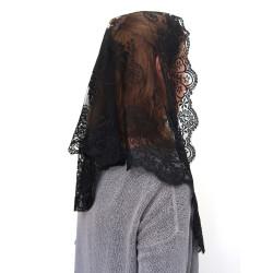 MA0002 ANGELYK corsets habillés Mantille Etole Triangle Véritable Dentelle Noire Satinée 60 x 80 x 120cm Catho