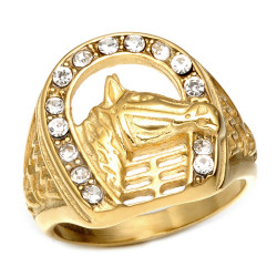 BA0239 BOBIJOO Jewelry Signet Ring Iron Horse Elvis Rhinestone Gypsy Gold