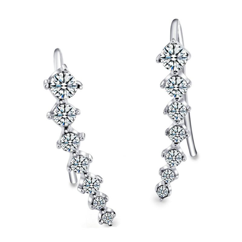 BOF0020 BOBIJOO JEWELRY Earrings Line of Zirconium-Brilliant Silver