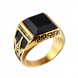 Chevalière Bague Acier Doré à l'Or Fin Franc-Maçon Masonic Ring Gold Cabochon Onyx Noir
