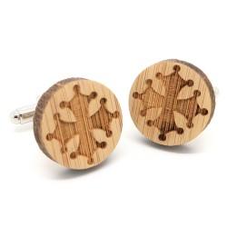 BM0036 BOBIJOO Jewelry Cufflinks Wood Occitan Cross