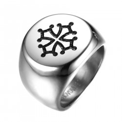 BA0244 BOBIJOO Jewelry Signet Ring Man Cross Occitania Toulouse, Steel, Silver