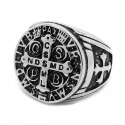 BA0245 BOBIJOO Jewelry Siegelring Ring Kreuz-Medaille St. Benedikt Templer Stahl