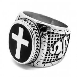 BA0246 BOBIJOO Jewelry Großen Siegelring Ring Kreuz Der Katholischen Päpstlichen Stahl