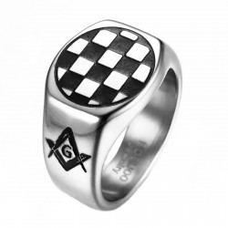 BA0249 BOBIJOO Jewelry Ring Siegelring Pad Mosaik Symbole Akazie, Stahl