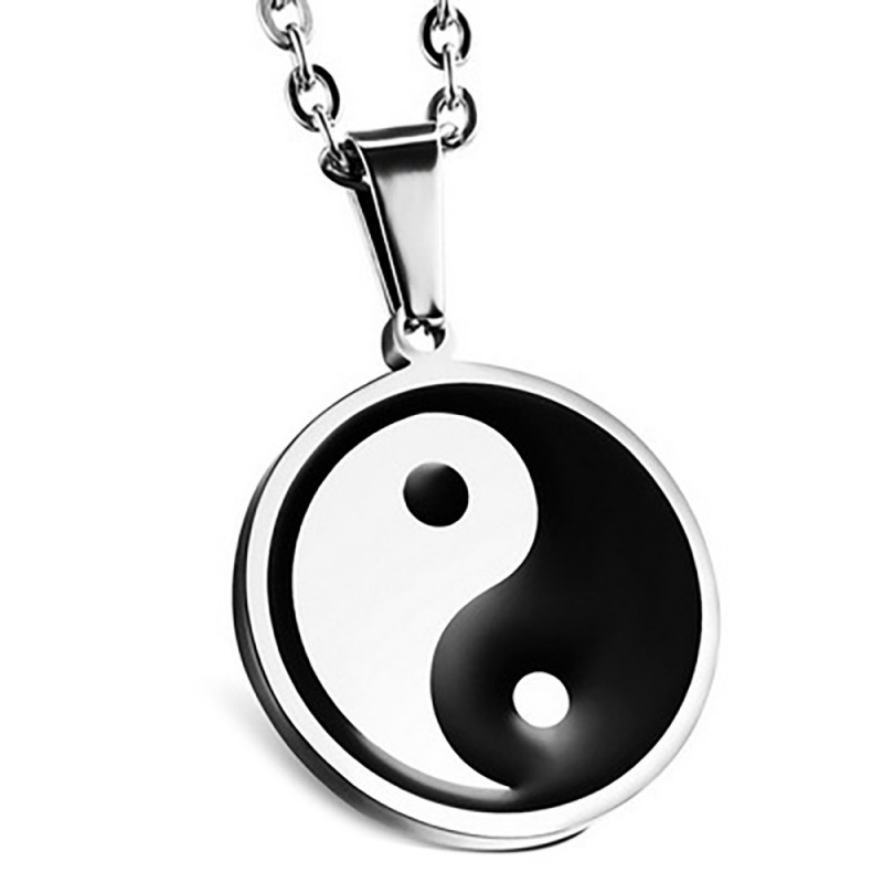 PE0127 BOBIJOO Jewelry Pendant Yin and Yang Stainless Steel Emaillé 27mm + String