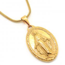 PEF0040 BOBIJOO Jewelry Collier Médaillon Vierge Miraculeuse Marie Acier Doré Or Fin
