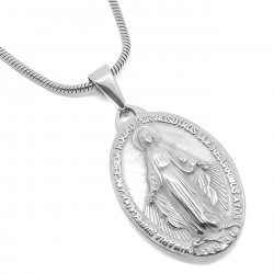PEF0041 BOBIJOO Jewelry Necklace Locket Virgin Mary Miraculous Mary Steel, Silver