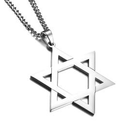 PE0132 BOBIJOO Jewelry Colgante de la Estrella de David de Acero Brillante 50mm + Cadena