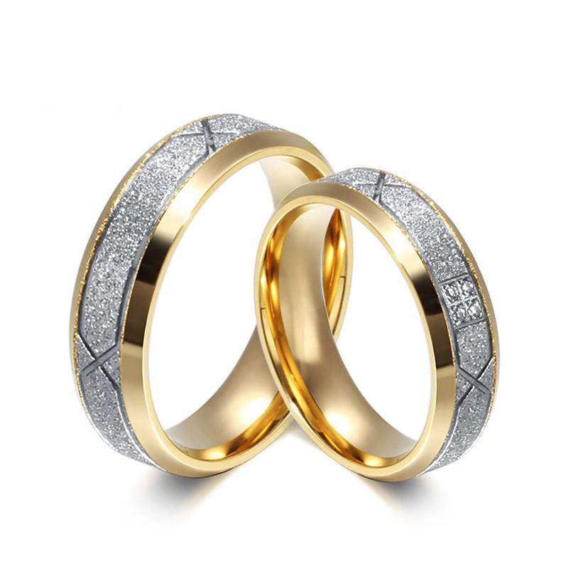 AL0025 BOBIJOO Jewelry Allianz-Mann-Frau-Ring Glänzend Silber Vergoldet, Gold