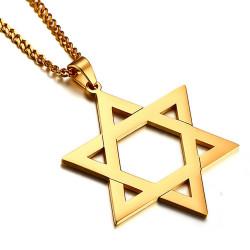 PE0027_NEW BOBIJOO Jewelry Anhänger, Stern von David Stahl-Gold Glänzend 50mm + Kette