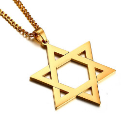PE0027_NEW BOBIJOO Jewelry Colgante de la Estrella de David de Acero Brillante de Oro de 50 mm + Cadena
