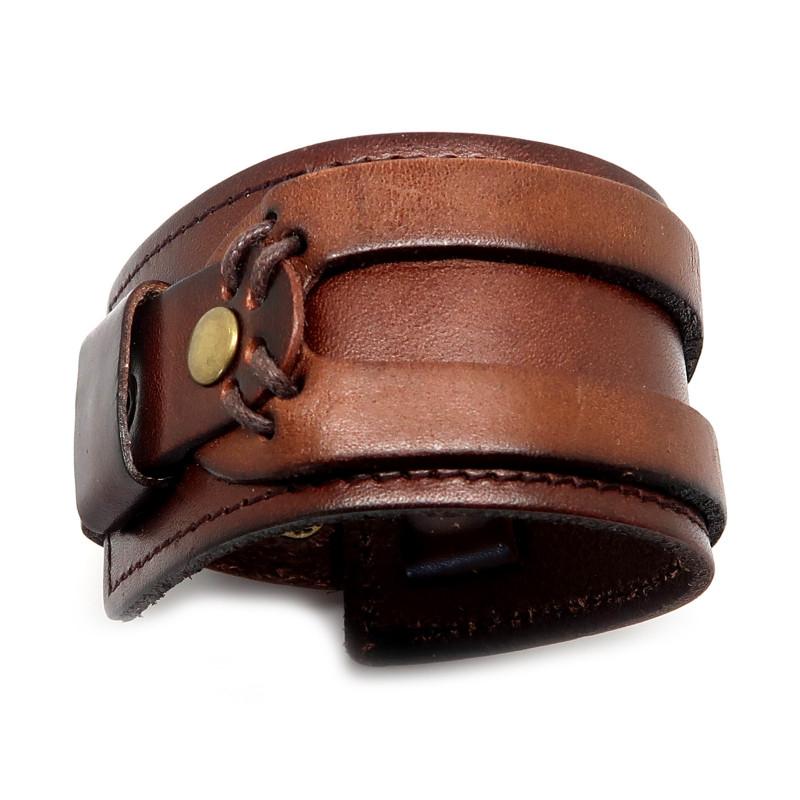BR0069 BOBIJOO Jewelry Bracelet de Force Cuir Marron Véritable