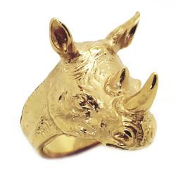 BA0256 BOBIJOO Jewelry Ring, Siegelring, Kopf Nashorn-Stahl-Gold