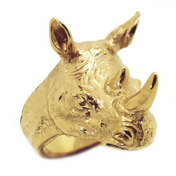 BA0256 BOBIJOO Jewelry Ring Signet ring Head from Rhino Steel Gold