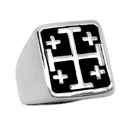 BA0257 BOBIJOO Jewelry Anello Sigillo Templare Croce di Gerusalemme in Acciaio