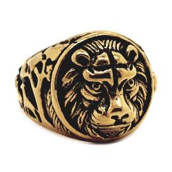 BA0258 BOBIJOO Jewelry Bague Chevalière Ronde Tête de Lion Acier Or Noir