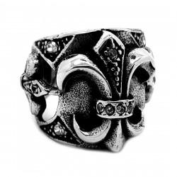 BA0259 BOBIJOO Jewelry Anello con Sigillo Reale Papale Fleur-de-Lys Patriot Zirconio