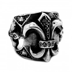 BA0259 BOBIJOO Jewelry Ring Signet Royal Papal Fleur-de-Lys Patriot Zirconium
