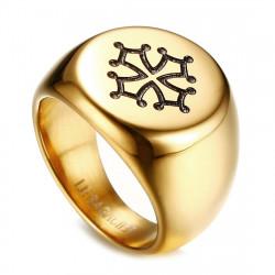 BA0260 BOBIJOO Jewelry Siegelring Ring Mann Kreuz Toulouse Occitanie Stahl Gold