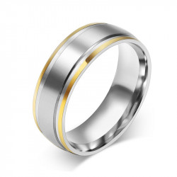 AL0027 BOBIJOO Jewelry Alianza Conjunta de Acero Inoxidable Bordes Dorados con Oro fino
