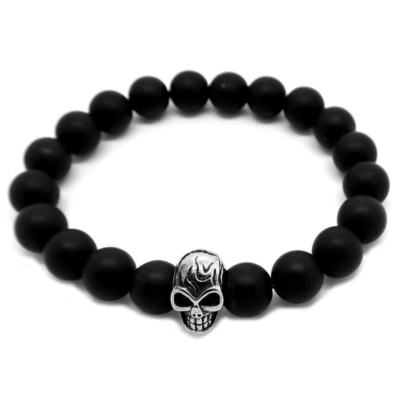 BR0039 BOBIJOO Jewelry Pulsera de Piedra de Ónice Negro Mate de 10mm de Cabeza de la Muerte del Cráneo de Acero
