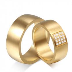 AL0028 BOBIJOO Jewelry Breite bündnisse Ring Gemischten Vergoldet, weißgold, Zirkonium