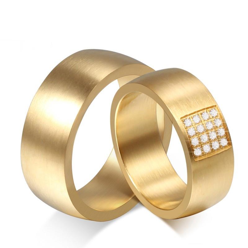 AL0028 BOBIJOO Jewelry Alianza Anillo Grande, Mezcla De Oro De Circonio