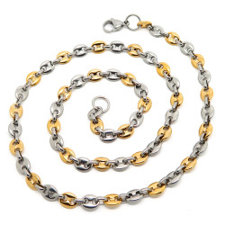 COH0013 BOBIJOO Jewelry Collar End Chain Coffee bean Bi Colour Steel Gilded Gold finish