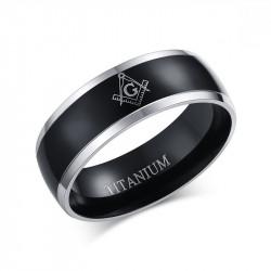 BA0025 BOBIJOO Jewelry Ring-Alliance-Titan-Beschichtung Ionen-Schwarz Silber-Schwarz, Mann, Frau, Freimaurer Und Freimaurerei...
