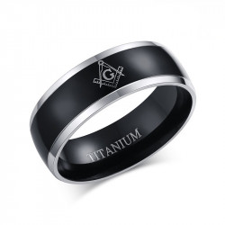BA0025 BOBIJOO Jewelry Ring Alliance Titanium Plating, Ion Metallic Black Black Man Woman Frank Mason Masonry Masonic