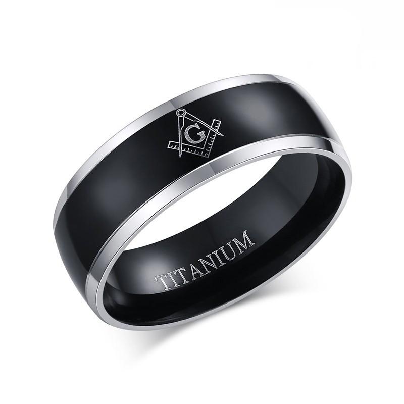 BA0025 BOBIJOO Jewelry Bague Alliance Titane PLaquage Ionique Noir Argenté Noir Homme Femme Franc Maçon Maçonnerie Masonic