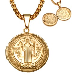 PE0135 BOBIJOO Jewelry Pendant Saint Benedict Door-Photo-steel Gold + Chain
