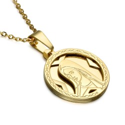 PEF0043 BOBIJOO Jewelry Pendant Round Medal Virgin Mary Stainless Steel Gold + Chain