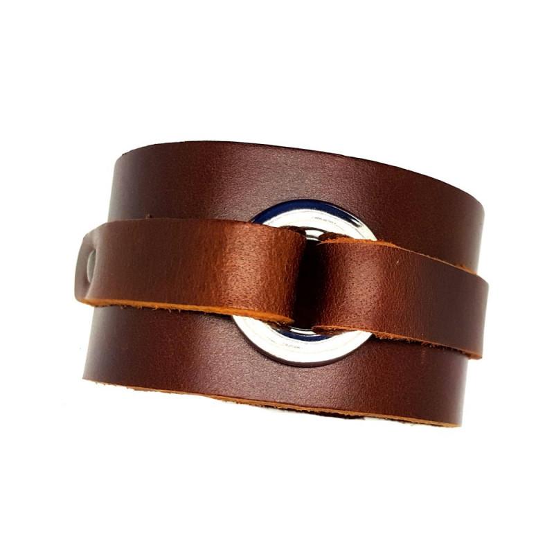BR0067 BOBIJOO Jewelry Bracelet de Force Cuir Marron Acier