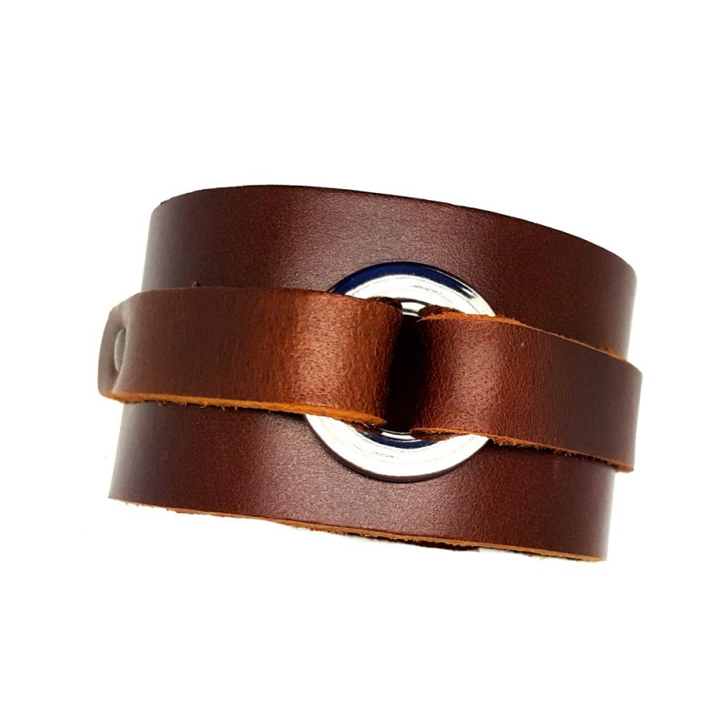 BR0067 BOBIJOO Jewelry Bracelet de Force Brown Leather Steel