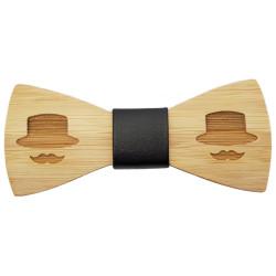 NP0040 BOBIJOO Jewelry Noeud Papillon Bois Bambou Moustache Chapeau