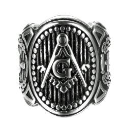 BA0262 BOBIJOO Jewelry Siegelring Ring Mann Freimaurerei Symbole, Loge