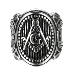 BA0262 BOBIJOO Jewelry Signet Ring Man Freemasonry Symbols Lodge