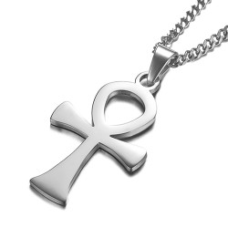 PE0146 BOBIJOO Jewelry Pendant Ankh Cross Egyptian Steel Gold Silver + Chain