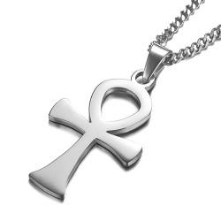 PE0146 BOBIJOO Jewelry Pendentif Croix Ansée Egyptienne Acier Or Argent + Chaîne