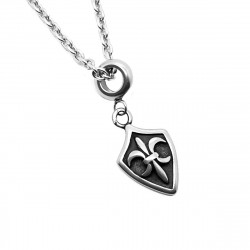 PE0147 BOBIJOO Jewelry Pendant Steel Templar Cross Pattée or Fleur-de-Lis + Chain