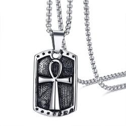 PE0148 BOBIJOO Jewelry Colgante de la Cruz de la Vida Manejado Egipcio Capa-de-brazos de Acero + Cadena