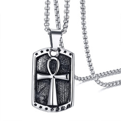 PE0148 BOBIJOO Jewelry Pendant Cross of Life Handled Egyptian Coat-of-arms Steel + String
